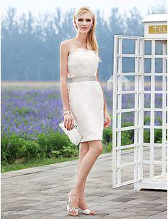 Sheath/Column #Strapless #Short Mini Organza Satin #Wedding #Dress - USD $ 99.99