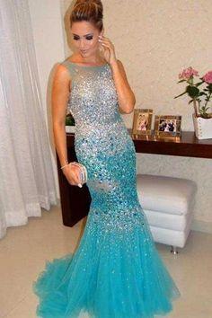 Blue Princess Prom Dresses with Rhinestones Heavily Beaded Bling Turquoise Vestido De Festa Longo CS102