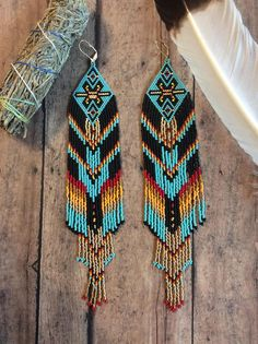 Fractal Seed Bead Earrings OOAK Tribal Gypsy Boho