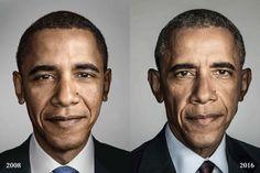 오바마 대통령 얼굴에 드러난 '취임 전과 후' 8년史 : 네이버 뉴스