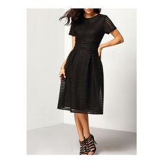SheIn(sheinside) Black Short Sleeve Hollow Out Flippy Dress ($27) ❤ liked on Polyvore featuring dresses, black, long-sleeve midi dresses, short sleeve cocktail dresses, cut out shoulder dress, midi dress and short sleeve skater dress