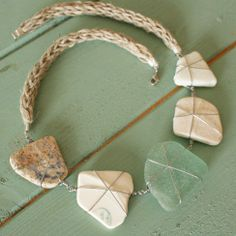 Beach Shack Project - Organic handknitted hemp rope and surgical stainless steel wire wrapped sea glass and pottery necklace. £28