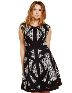 Studio Abstract Print Fit & Flare Dress Black Print