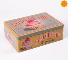 """caja metalica  cupcake salon de the lady http://www.labotiga.net/caja-para-el-te-del-salon-de-the-lady-cupcake/ ienes hasta 6 departamentos independientes donde caben mas de 40 sobrecitos en cada uno. Caja rectangular decorada con """"Salon de thé Lady Cupcake"""""""