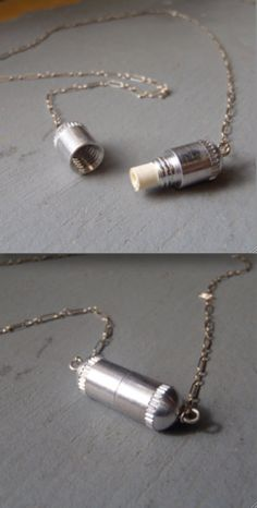 the Note + Capsule necklace: A small capsule pendant unscrews to reveal a piece of rolled up paper-- perfect for a note to a loved one, favorite poem, lyric, a self reminder, or even a fortune cookie fortune. The possibilities are endless...