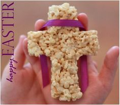Easter Rice Krispie Treats in the shape of a Cross. I could totally do these for communion
