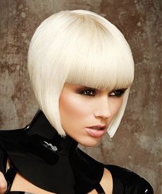 A short blonde straight coloured white platinum-blonde healthy Defined-fringe hairstyle by Steven Smart Short Stacked Bob Haircuts, Short Straight Haircut, Inverted Bob Hairstyles, Short Hair Cuts, Wig Hairstyles, Straight Hairstyles, Short Hair Styles, Straight Bob, Straight Lines