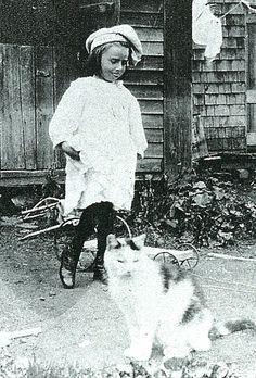 Maud and Fluffy, circa 1908,  photo from The Illuminated Life of Maud Lewis by Lance Woolaver  (artist)