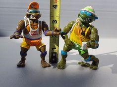 Lot of 2 LifeguardTeenage Mutant Ninja Turtles TMNT 1992 Action Figures #PlaymatesToys