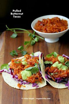 Pulled Butternut Squash Tacos. Vegan Glutenfree Recipe