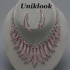 Classy Amethyst Purple Crystal Collar Bib Necklace Set Elegant Costume Jewelry
