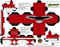 Part of Phase 1 of a huge request for , here is the Red Ranger from Season 1 of Mighty Morphin Power Rangers. Mighty Morphin Power Rangers and all copyrighted materia. Power Ranger Party, Power Ranger Birthday, 3d Paper, Paper Toys, Ed Edd Y Eddy, Origami Game, Powe Rangers, Pink Power Rangers, Power Rangers Samurai