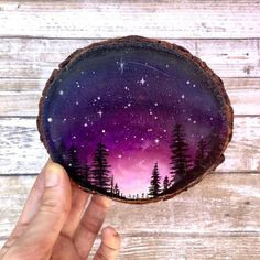 Galaxy forest night sky wood slice painting, wanderlust decor, adventure gift, wood slice art - Galaxy Painting - Step By Step Acrylic Painting Tutorial Night Sky Painting, Galaxy Painting, Love Painting, Painting On Wood, Circle Painting, Wood Paintings, Rainbow Loom, Forest Sunset, Adventure Gifts