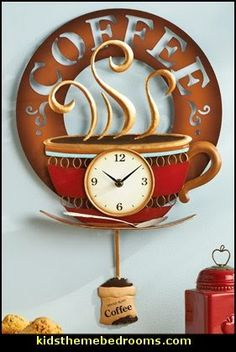 It's Coffee Time! Hot Coffee Cup Decorative Kitchen Wall Clock - cafes aroma - how cute is this?
