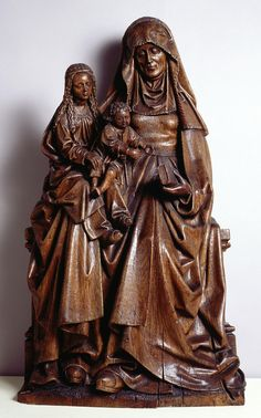 Flanders, perhaps Brussels    Seated Saint Anne, with the Virgin and Child, ca. 1500. Oak.Johnson Art Museum.