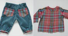 Tuto et patron en français : Une chemise et un pantalon assortis pour bébé