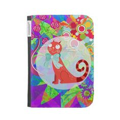 Pretty Kitty Cat Vibrant Colorful Kindle Case Cases For The Kindle