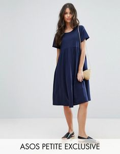 Buy it now. ASOS PETITE Ultimate Midi Smock Dress - Navy. Petite dress by ASOS PETITE, Soft-touch jersey, Scoop neck, Short sleeves, Smock style, Relaxed fit, Machine wash, 100% Cotton, Our model wears a UK 8/EU 36/US 4 and is 165cm/5'5 tall, Midi dress length between: 105-110cm. ABOUT ASOS PETITE 5�3�/1.60m and under? The London-based design team behind ASOS PETITE take all your fashion faves and cut them down to size. Say goodbye to all your short-girl problems with our perfectly propor...