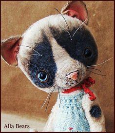 By Alla Bears artist Cat kitten Old Vintage art doll OOAK prim handmade baby pet