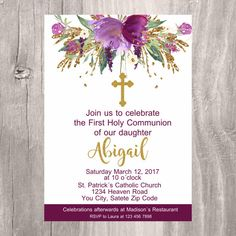First Holy Communion Invite Printable Invitation by IsiDesigns