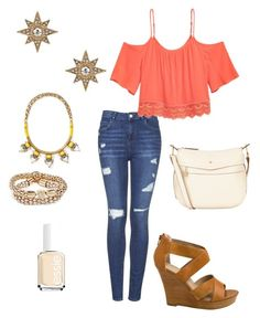 """""""Untitled #276"""" by kmysoccer on Polyvore featuring Topshop, Stella & Dot, Nica, GUESS, Seychelles, Essie and Blu Bijoux"""