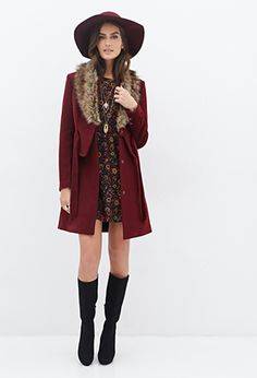 Faux Fur Collar Coat | FOREVER 21 - 2000137995 $60