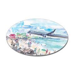 Sunset Beach SXM Decal - cool St Maarten scene near the airport