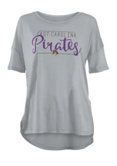 Royce Girls' East Carolina Pirates Hip Script Short Sleeve Tee Shirt - Gray - Xl