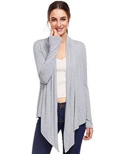 Romwe Women's Casual Light Weight Long Sleeve Cardigan Sweater