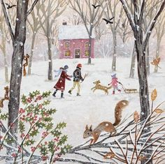 """Walk in Winter"" Suffolk Original Paintings For Sale Illustration Noel, Winter Illustration, Christmas Illustration, Illustrations, Original Paintings For Sale, Photo Images, Bing Images, Winter Art, Naive Art"