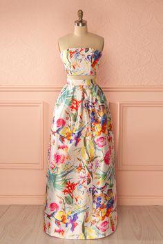 Makani - Colorful floral print top and maxi skirt set