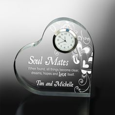 Buy Personalized Clocks for Sale. Beautiful Personalized Clocks make a wonderful gift for any occasion. Our unique desk clocks can be personalized with name and date for a truly one of a kind keepsake gift Traditional Anniversary Gifts, Unique Anniversary Gifts, Anniversary Gifts For Parents, Personalized Anniversary Gifts, First Wedding Anniversary, Personalised Love Hearts, Personalized Clocks, Valentines Day Gifts For Her, Parent Gifts