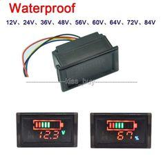 12v 24v 36v 48v 72v 84v LED Indicator Battery capacity Tester voltmeter for car - electronics.gosho...