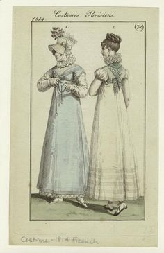 Costumes Parisiens, Journal des Dames et des Modes, 1814; NYPL 801887. Pointy toes and lacing ribbons.