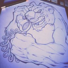 Angry Polar Bear on a telephone. what? Client work. #absorb81 #art #illustration #drawing #sketch #comic