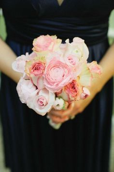 Bouquets Pink pink rose bouquet navy bridesmaid dress