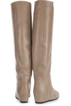 """Concealed-Wedge Crinkled Leather Knee Boots by Lanvin: With a 3"""" concealed wedge! #Wedge_Boot #Boot #Lanvin"""
