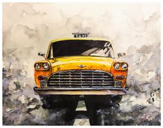 Watercolor Painting Vintage Yellow Taxi by Ivars Selickis on Etsy