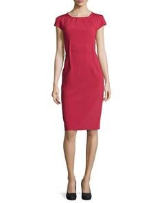 Crepe Pleated-Neck Sheath Dress, Rose by Michael Kors at Neiman Marcus.
