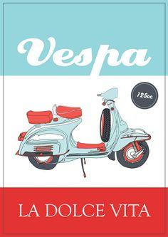 Vintage Italian Posters ~ #illustrator #Italian #posters ~ Italian Vespa Poster
