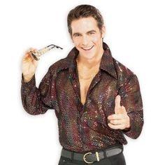 Black Glitter Disco Shirt - Men by Rubie's 70s Halloween Costumes, Adult Costumes, Disco Costume, Disco Shirt, Costume Shirts, Sequin Shirt, Shirt Refashion, Gym Shirts, Black Glitter