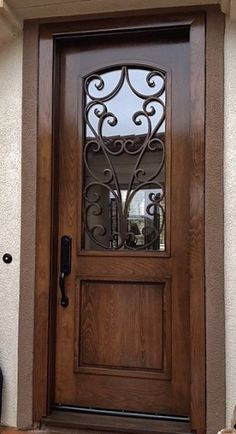 Look at this first rate front doors makeover - what an artistic design and style Wooden Main Door Design, Door Gate Design, Front Door Design, Iron Front Door, Front Doors, Modern Exterior Doors, Exterior Design, Front Door Makeover, Staircase Makeover