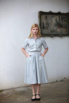 Grey cotton button up short sleeve midi dress / by JULfashion