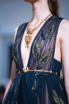 Designs were paired with gold necklaces, belts and crowns, like modern versions of antiquities. Credit Valerio Mezzanotti for The New York Times.