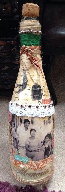 scrapbooking, bottle craft, altered bottle