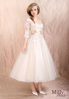 Knee-length off-the-shoulder long sleeves with lace white/ivory 2012 Agora wedding gowns BABG0014