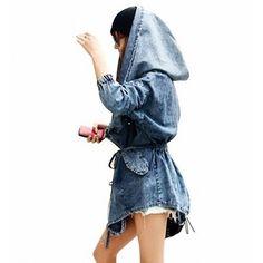 LandPure@ Förderung 30% Rabatt Fashion Cool Damen Lady Jeansstoff Trenchcoat Hoodie Hooded Outerwear Jean Jacket Kapuzenpullover Blau: Amazon.de: Bekleidung