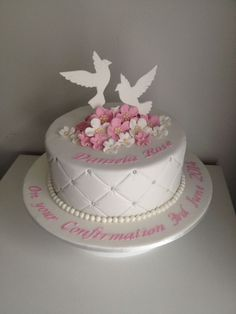 Dove Confirmation Cake on Cake Central Christian Cakes, First Holy Communion Cake, Confirmation Cakes, Baptism Cakes, Religious Cakes, Single Layer Cakes, Novelty Cakes, Occasion Cakes, Girl Cakes