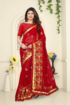 Red Art Silk Embroidered Saree with Blouse piece Art Silk Sarees, Georgette Sarees, New Saree Designs, Diwali Sale, Latest Sarees, Red Fabric, Embroidered Silk, Saree Wedding, Indian Sarees