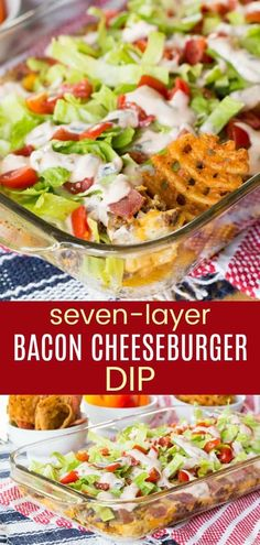 Seven-Layer Bacon Cheeseburger Dip - a hot, cheesy appetizer recipe to serve at your big game party with layers of burger toppings and plenty of cheddar cheese, plus chips, veggies, or French fries for dipping. Gluten-free and low carb. Healthy Burger Recipes, Cheese Burger Soup Recipes, Beef Recipes, Dip Recipes, Shrimp Recipes, Bacon Appetizers, Easy Appetizer Recipes, Appetizer Dips, Party Appetizers